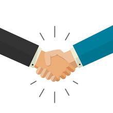 Shaking Hands Handshake Business Vector Illustration Isolated On White Background, Symbol Of Success Deal, Happy Partnership, Greeting Shake, Handshaking Agreement Flat Sign Design