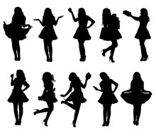 Collection Of Santa Girl Silhouettes In Various Poses. Easy Editable Layered Vector Illustration.