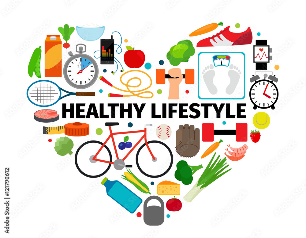 Fototapety, obrazy: Healthy lifestyle heart emblem. Health, healthy food and active daily routine flat icons vector banner isolated on white background