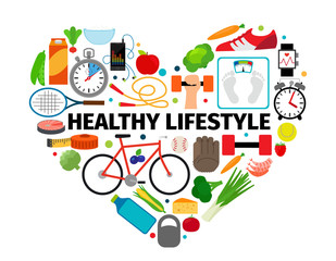 Panel Szklany Do gabinetu lekarskiego/szpitala Healthy lifestyle heart emblem. Health, healthy food and active daily routine flat icons vector banner isolated on white background