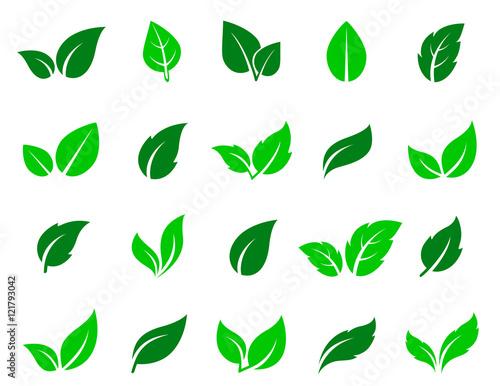Fototapety, obrazy: green leaf icons set