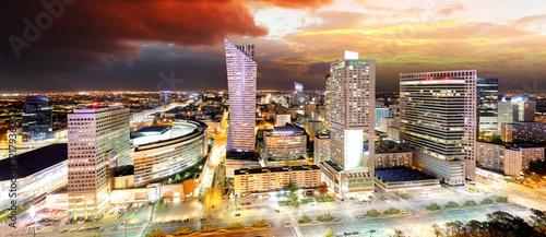 Fototapeta Sunset panorama of Warsaw, capital of Poland, Europe obraz