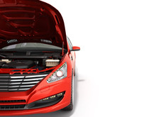Open Hood Of A Car With View Of The Engine 3d Render On White