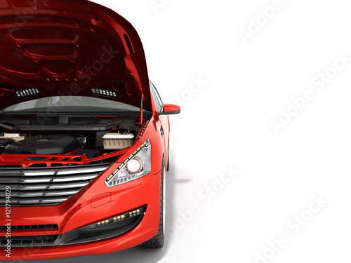 open hood of a car with view of the engine 3d render on white Wallpaper Mural