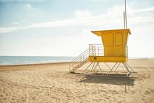 Yellow Lifeguard Post On An Em...