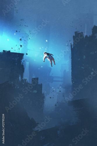 astronauta unoszący się w opuszczonym mieście, tajemnicza przestrzeń, malarstwo ilustracyjne