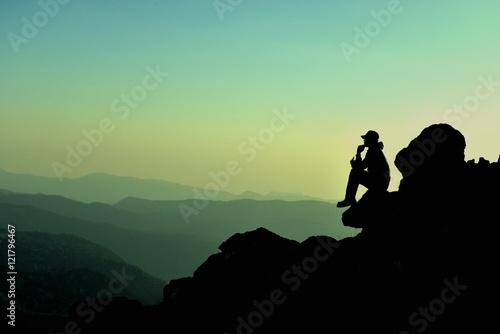 Fotografía düşünen adam & plan yapan dağcı