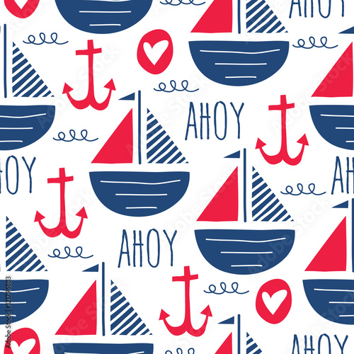 Photo seamless sea pattern with sailing ships vector illustration