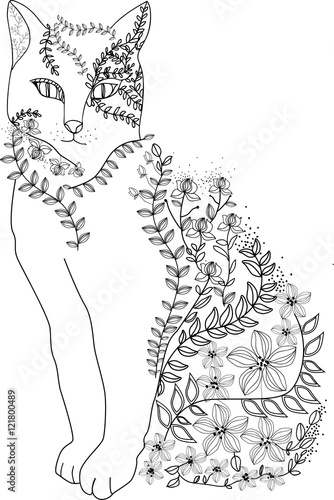 Foto op Plexiglas Hand drawn doodle cat illustration decorated with floral ornamental drawings.