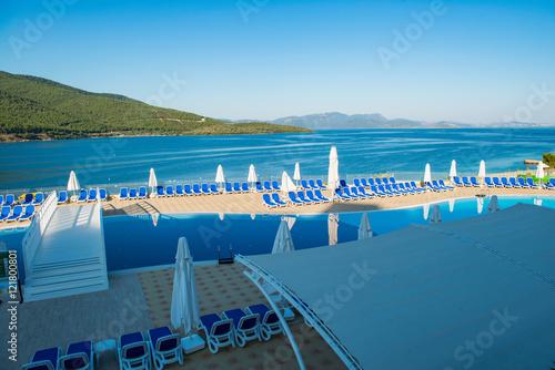 Foto op Aluminium Tunesië Nice swimming pool outdoors on bright summer day