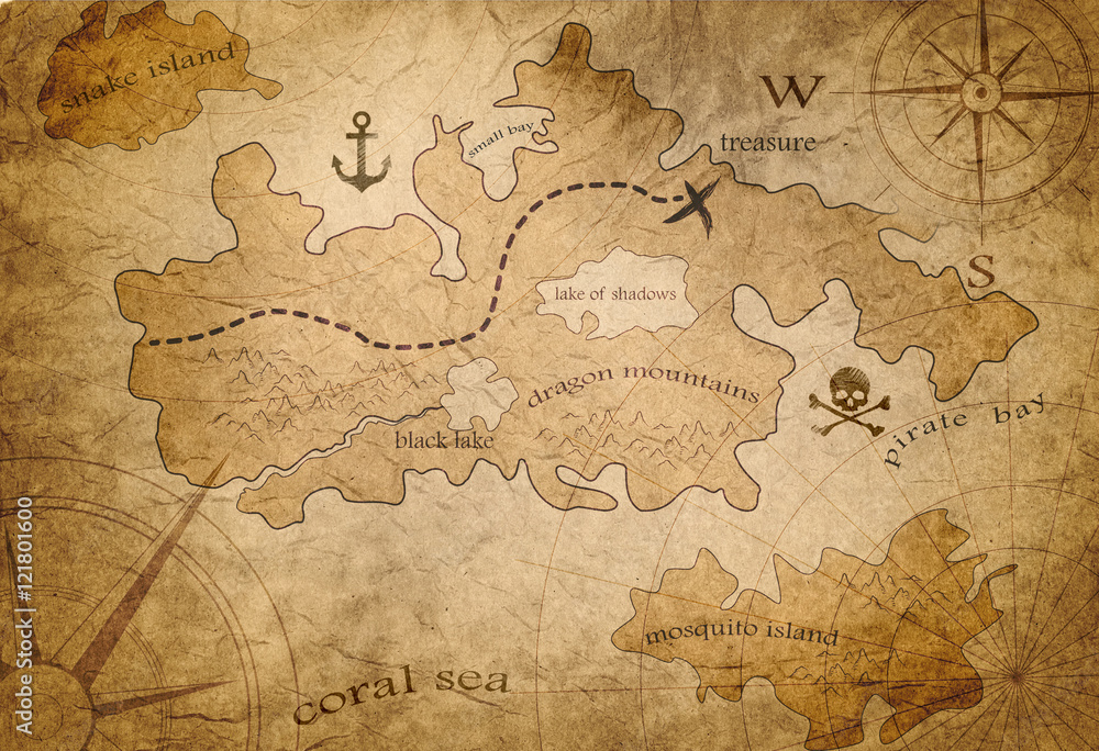 Fototapety, obrazy: pirate treasure map