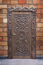 Vintage Old Wooden Front Door Of Home