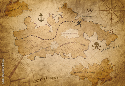 Fotografie, Obraz pirate treasure map