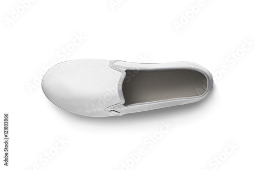 Blank white slip-on shoe design mockup, top view, clipping path, 3d ...