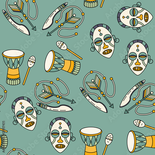 Seamless pattern with voodoo symbols  - Buy this stock vector and
