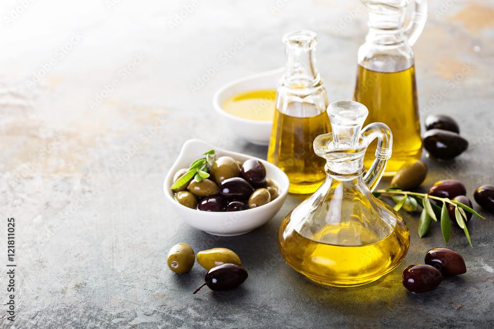 Obraz Olive oil in vintage bottles fototapeta, plakat
