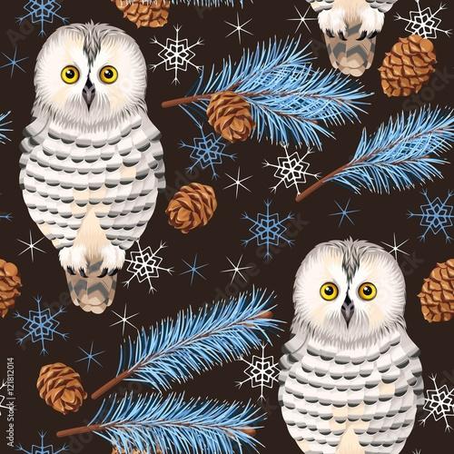 Photo Stands Owls cartoon Seamless polar owl