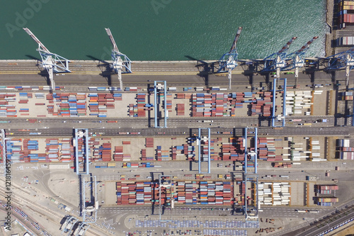 Foto op Plexiglas Commercial port with containers - Aerial photo