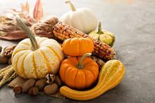 Fall Copyspace With Decorative Pumpkins