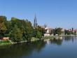 Stadt Ulm an der Donau mit Stadtmauer, Altstadt und Münster