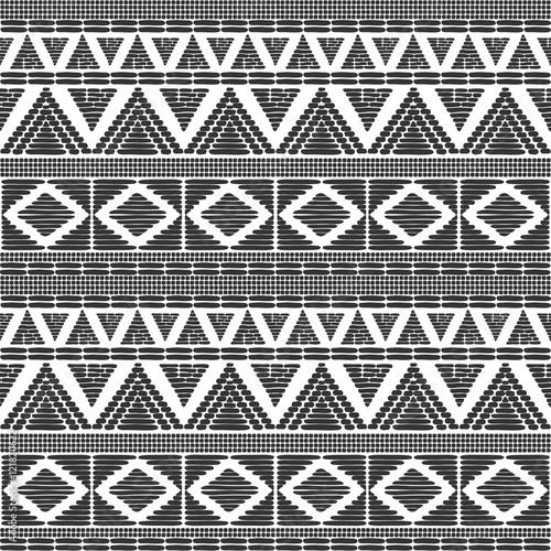 Tribal Pattern Vector In Black White Colors Print With African