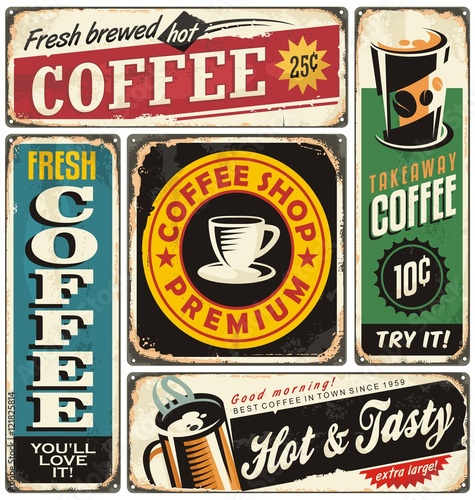 coffee shop retro metal signs collection vintage coffee label