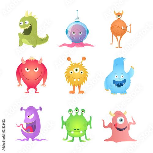 Foto op Canvas Schepselen Funny Cartoon Monsters set. Eps10 vector.