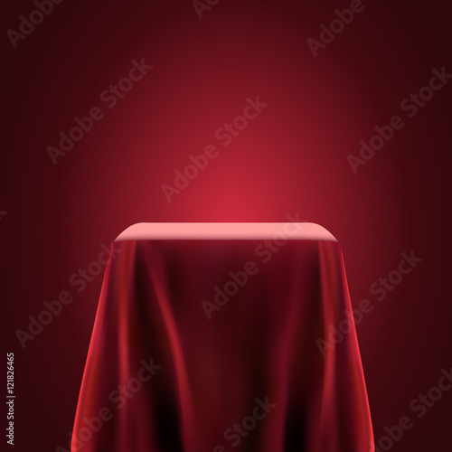 Valokuvatapetti Presentation pedestal covered with a red silk cloth