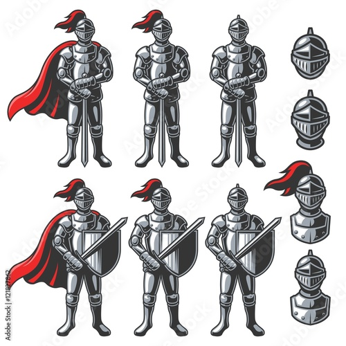 Vászonkép Set of color knights