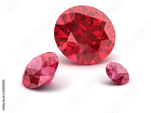 Valokuva  Shiny white ruby illustration (high resolution 3D image) 3D illu