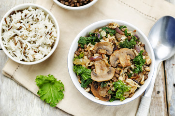 Kale green lentils mushrooms fried white and wild rice