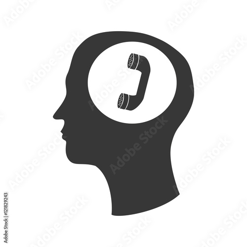 Human Head Profile With Telephone Headset Icon Silhouette Vector Illustration Buy This Stock Vector And Explore Similar Vectors At Adobe Stock Adobe Stock