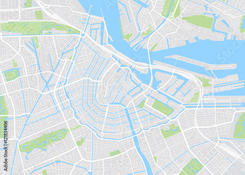 Photo  Amsterdam colored vector map