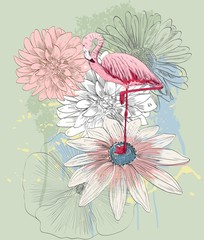 NaklejkaVector sketch of a flamingo with flowers. Hand drawn illustration