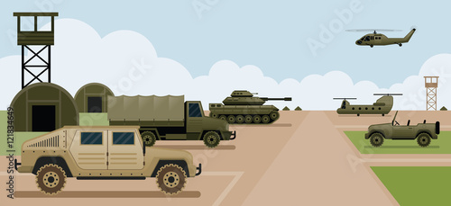 Military Base Camp, Side View with Army and Air Force Vehicles