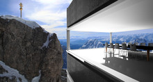 Meeting Room And Winter Snow Covered Mountain Zugspitze In Germany Europe. Great Place For Winter Sports /3D Rendering