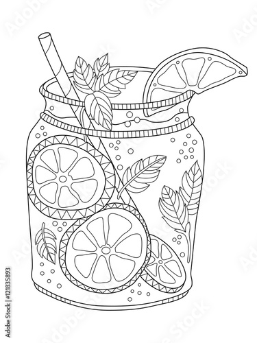 Lemonade adult coloring page in zentangle style
