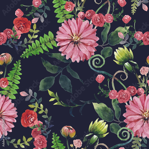 Cotton fabric Draw a pattern flowers watercolour black background.