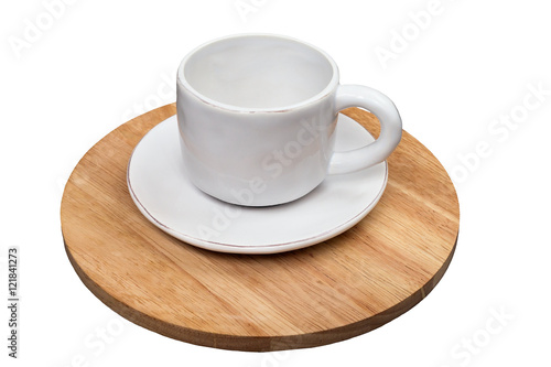 Blank White Cup And Saucer Standing On A Wooden Stand Isolated O