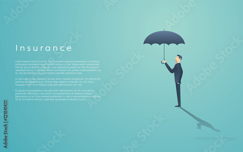 Fotografía  Business insurance concept with vector symbol of businessman and umbrella