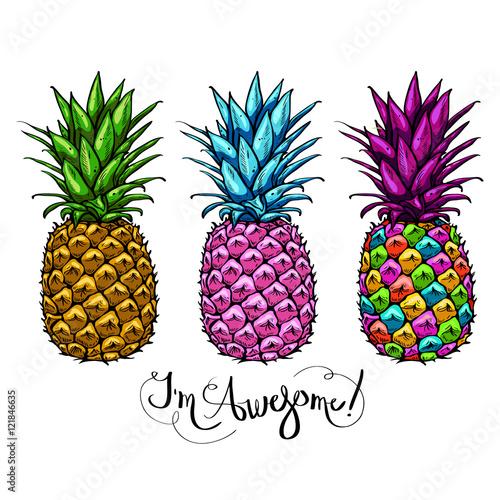 wizerunek-z-trzy-stubarwnymi-ananasow-owocowy-pisac-list-wspanialego-na-bialym