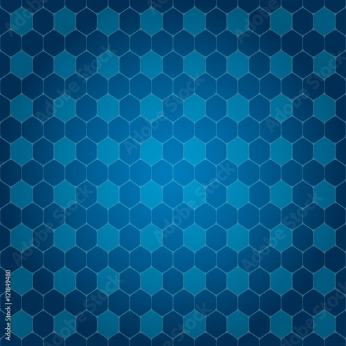 Fotografie, Obraz  Vector abstract blue gradient background with hexagon shapes different opacity