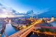 Leinwanddruck Bild - Berlin Panorama am Abend von der Fischerinsel mit Blick auf den Alexanderplatz und Fersehturm