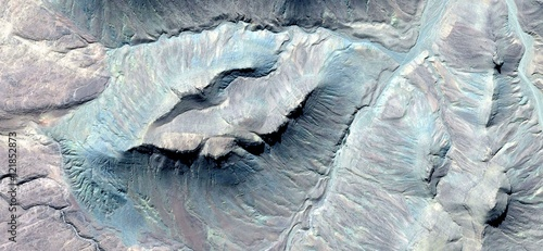 Photo  abstract Abyssal mirage of fossil animals, pastel turquoise color, deep ocean Af