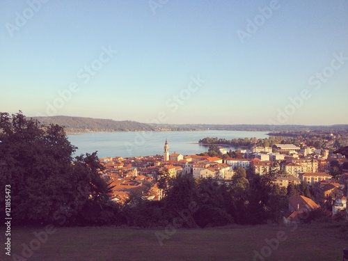 Fotografia, Obraz  Arona (Italy) view from above