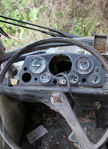 old damaged Bus driver commands - Buy this stock photo and explore