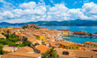 Leinwanddruck Bild - Panoramic view over Portoferraio town of  isola d'Elba, Elba island in Tuscany region, Italy.