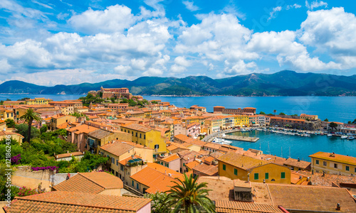 In de dag Toscane Panoramic view over Portoferraio town of isola d'Elba, Elba island in Tuscany region, Italy.