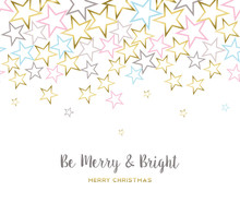 Merry Christmas Design With Gold Star Decoration