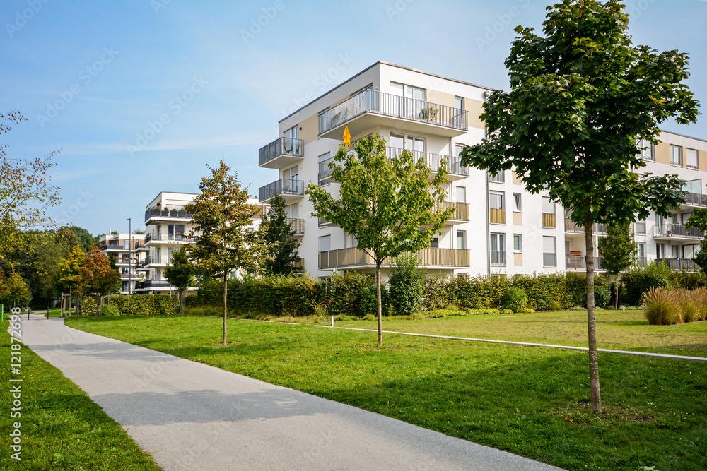 Fototapety, obrazy: New apartment building - modern residential development in a green urban settlement